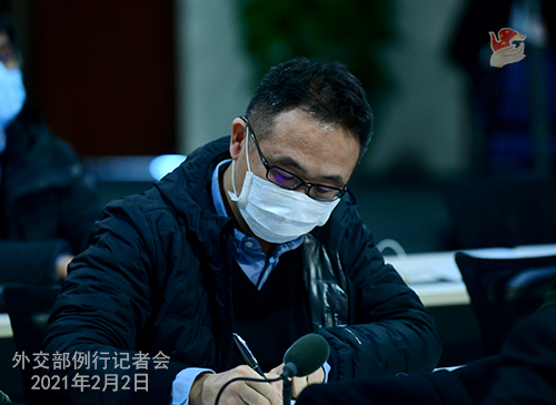 PEKIN 09 Conférence de presse du 2 février 2021 tenue par le porte-parole du Ministère des Affaires étrangères Wang Wenbin