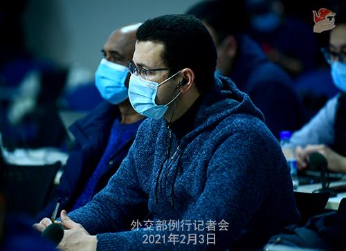 PEKIN 13 Conférence de presse du 3 février 2021 tenue par le porte-parole du Ministère des Affaires étrangères Wang Wenbin