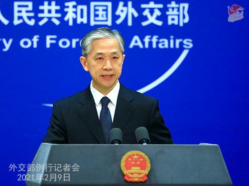W.WENBIN PH 3 Conférence de presse du 9 février 2021 tenue par le porte-parole du Ministère des Affaires étrangères Wang Wenbin