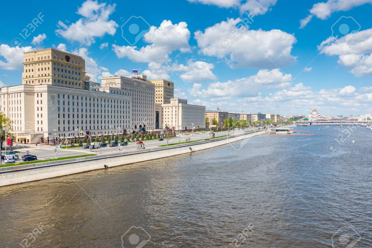 Ministry of Defense of the Russian Federation on Frunze Embankment in Moscow