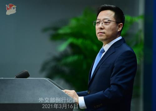 CH - ZHAO PH 1 Conférence de presse du 16 mars 2021 tenue par le porte-parole du Ministère des Affaires étrangères Zhao Lijian
