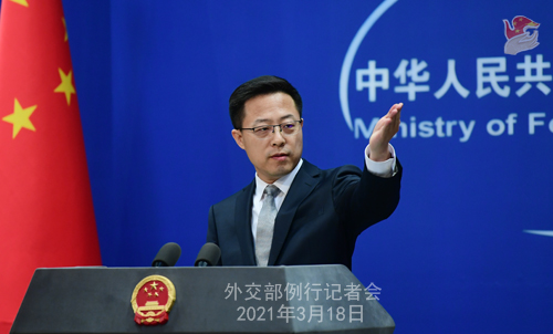 CH - ZHAO PH 13 Conférence de presse du 18 mars 2021 tenue par le porte-parole du Ministère des Affaires étrangères Zhao Lijian