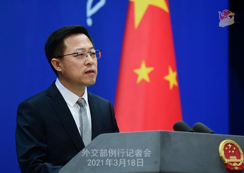 CH - ZHAO PH 14 Conférence de presse du 18 mars 2021 tenue par le porte-parole du Ministère des Affaires étrangères Zhao Lijian