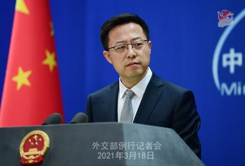 CH - ZHAO PH 15 Conférence de presse du 18 mars 2021 tenue par le porte-parole du Ministère des Affaires étrangères Zhao Lijian