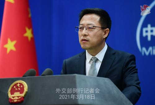 CH - ZHAO PH 17 Conférence de presse du 18 mars 2021 tenue par le porte-parole du Ministère des Affaires étrangères Zhao Lijian