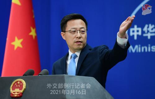 CH - ZHAO PH 2 Conférence de presse du 16 mars 2021 tenue par le porte-parole du Ministère des Affaires étrangères Zhao Lijian