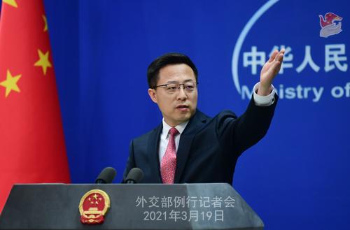 CH - ZHAO PH 20 Conférence de presse du 19 mars 2021 tenue par le porte-parole du Ministère des Affaires étrangères Zhao Lijian