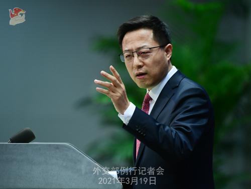 CH - ZHAO PH 21 Conférence de presse du 19 mars 2021 tenue par le porte-parole du Ministère des Affaires étrangères Zhao Lijian