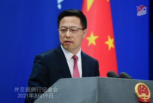 CH - ZHAO PH 22 Conférence de presse du 19 mars 2021 tenue par le porte-parole du Ministère des Affaires étrangères Zhao Lijian