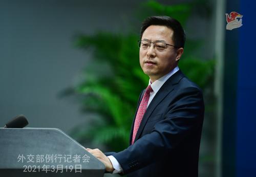 CH - ZHAO PH 23 Conférence de presse du 19 mars 2021 tenue par le porte-parole du Ministère des Affaires étrangères Zhao Lijian
