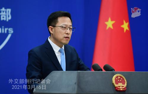 CH - ZHAO PH 3 Conférence de presse du 16 mars 2021 tenue par le porte-parole du Ministère des Affaires étrangères Zhao Lijian