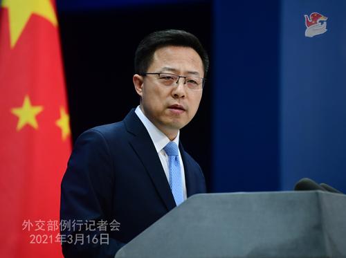 CH - ZHAO PH 4 Conférence de presse du 16 mars 2021 tenue par le porte-parole du Ministère des Affaires étrangères Zhao Lijian