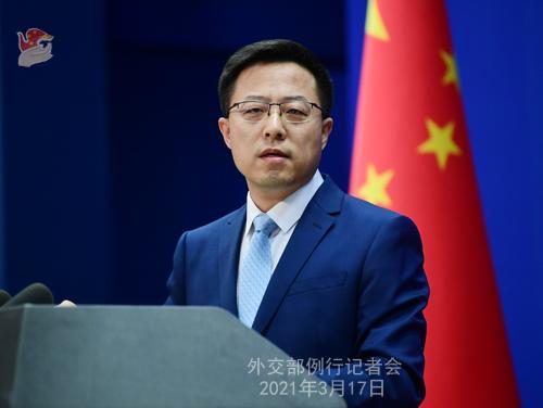 CH - ZHAO PH 6 Conférence de presse du 17 mars 2021 tenue par le porte-parole du Ministère des Affaires étrangères Zhao Lijian