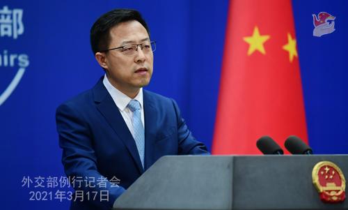 CH - ZHAO PH 8 Conférence de presse du 17 mars 2021 tenue par le porte-parole du Ministère des Affaires étrangères Zhao Lijian
