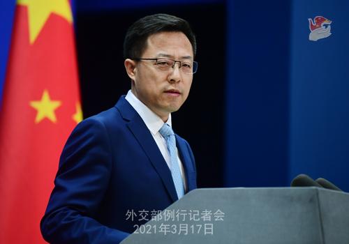 CH - ZHAO PH 9 Conférence de presse du 17 mars 2021 tenue par le porte-parole du Ministère des Affaires étrangères Zhao Lijian
