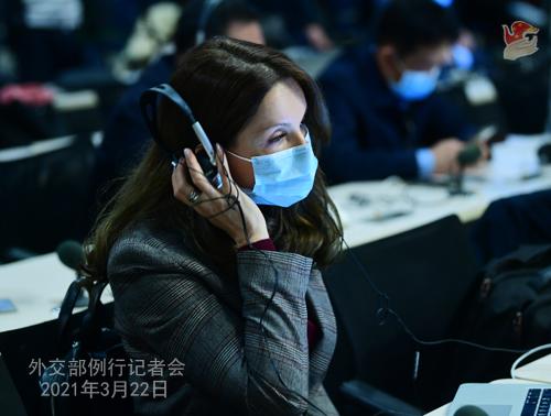 CHINE HUA PH 5 Conférence de presse du 22 mars 2021 tenue par la porte-parole du Ministère des Affaires étrangères Hua Chunying