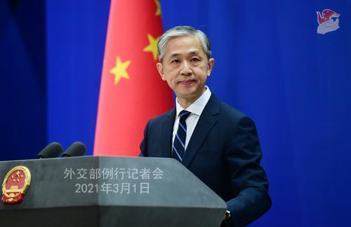CHINE PH 1 DU 1er mars 2021 tenue par le porte-parole du Ministère des Affaires étrangères Wang Wenbin