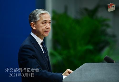 CHINE PH 3 DU 1er mars 2021 tenue par le porte-parole du Ministère des Affaires étrangères Wang Wenbin