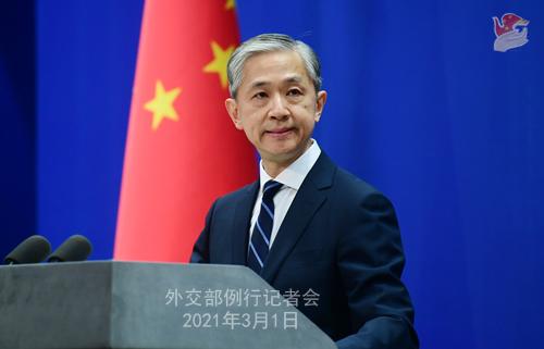 CHINE PH 5 DU 1er mars 2021 tenue par le porte-parole du Ministère des Affaires étrangères Wang Wenbin