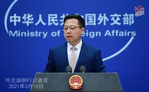 Conférence de presse du 10 mars 2021 PH 1 tenue par le porte-parole du Ministère des Affaires étrangères Zhao Lijian