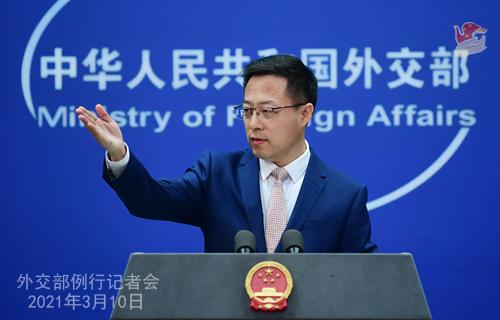 Conférence de presse du 10 mars 2021 PH 2 tenue par le porte-parole du Ministère des Affaires étrangères Zhao Lijian