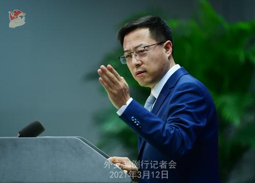 Conférence de presse du 12 mars 2021 PH 5 tenue par le porte-parole du Ministère des Affaires étrangères Zhao Lijian