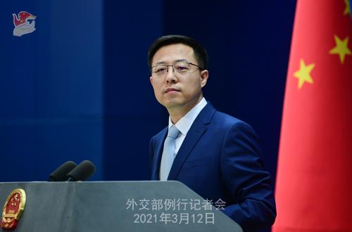Conférence de presse du 12 mars 2021 PH 6 tenue par le porte-parole du Ministère des Affaires étrangères Zhao Lijian