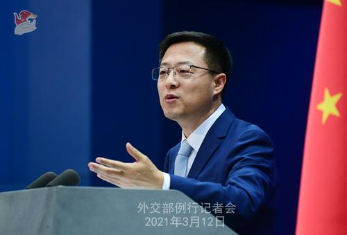 Conférence de presse du 12 mars 2021 PH 7 tenue par le porte-parole du Ministère des Affaires étrangères Zhao Lijian