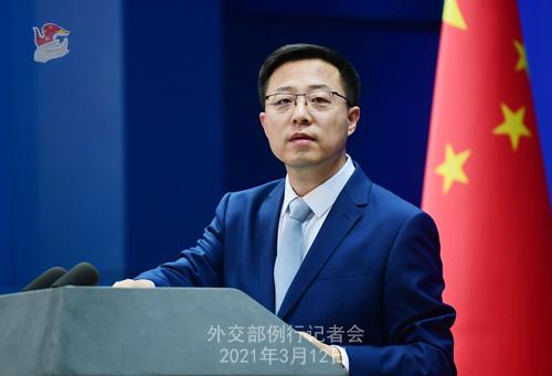 Conférence de presse du 12 mars 2021 PH 8 tenue par le porte-parole du Ministère des Affaires étrangères Zhao Lijian