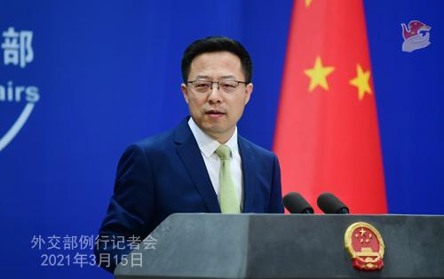Conférence de presse du 15 mars 2021 PH 11 tenue par le porte-parole du Ministère des Affaires étrangères Zhao Lijian