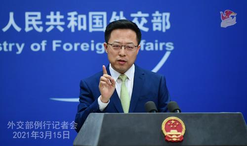 Conférence de presse du 15 mars 2021 PH 12 tenue par le porte-parole du Ministère des Affaires étrangères Zhao Lijian