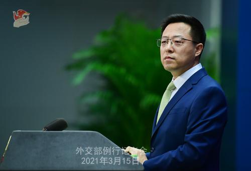 Conférence de presse du 15 mars 2021 PH 14 tenue par le porte-parole du Ministère des Affaires étrangères Zhao Lijian