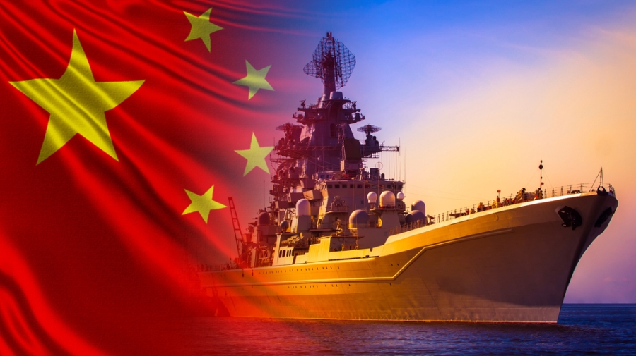 Warship,Close-up,On,The,Background,Of,The,Chinese,Flag.,Protection