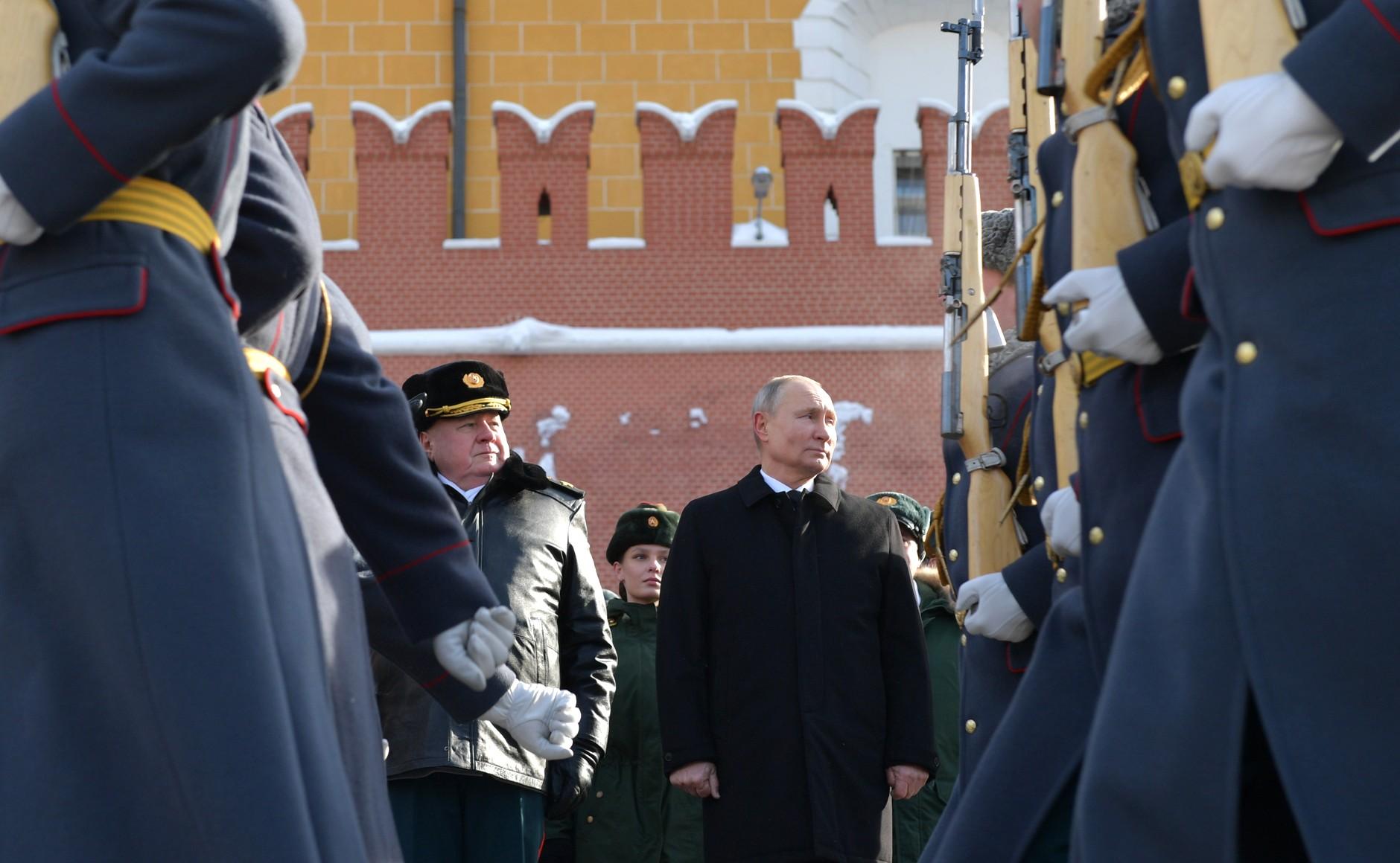 KREMLIN 3 WW 7 Le président a déposé une couronne sur la tombe du soldat inconnu à l'occasion de la Journée du défenseur de la patrie 23.02.2021