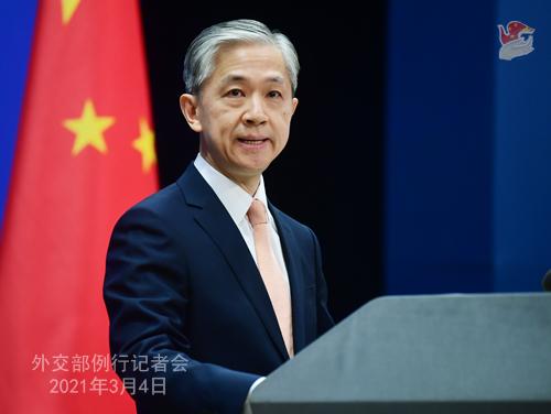 PEKIN PH 1 XX 3 Conférence de presse du 4 mars 2021 tenue par le porte-parole du Ministère des Affaires étrangères Wang Wenbin