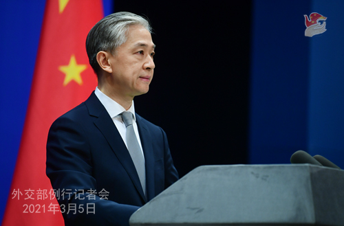 PEKIN PH 5 XX Conférence de presse du 5 mars 2021 tenue par le porte-parole du Ministère des Affaires étrangères Wang Wenbin