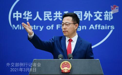 PEKIN PH 7 XX Conférence de presse du 8 mars 2021 tenue par le porte-parole du Ministère des Affaires étrangères Zhao Lijian