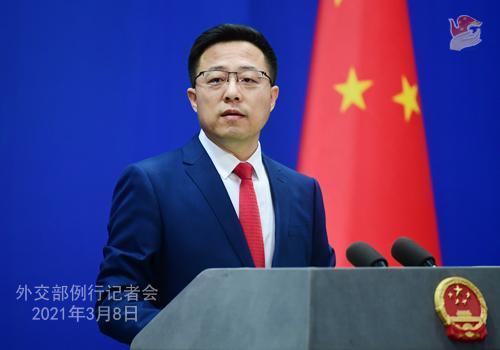 PEKIN PH 8 XX Conférence de presse du 8 mars 2021 tenue par le porte-parole du Ministère des Affaires étrangères Zhao Lijian
