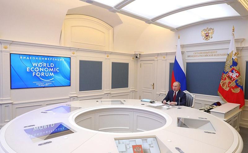 PHO 4 Le 27 janvier, le président russe Vladimir Poutine a pris la parole au Forum économique mondial de Davos.