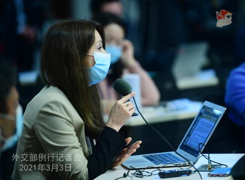 PHOTO 12 presse du 3 mars 2021 tenue par le porte-parole du Ministère des Affaires étrangères Wang Wenbin
