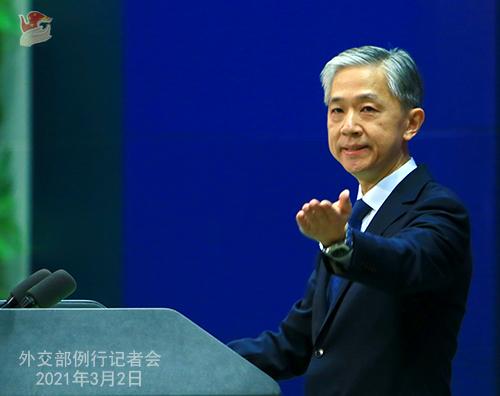 PHOTO 7 presse du 2 mars 2021 tenue par le porte-parole du Ministère des Affaires étrangères Wang Wenbin
