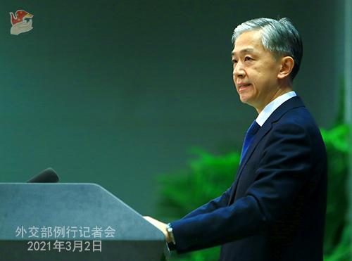 PHOTO 9 presse du 2 mars 2021 tenue par le porte-parole du Ministère des Affaires étrangères Wang Wenbin
