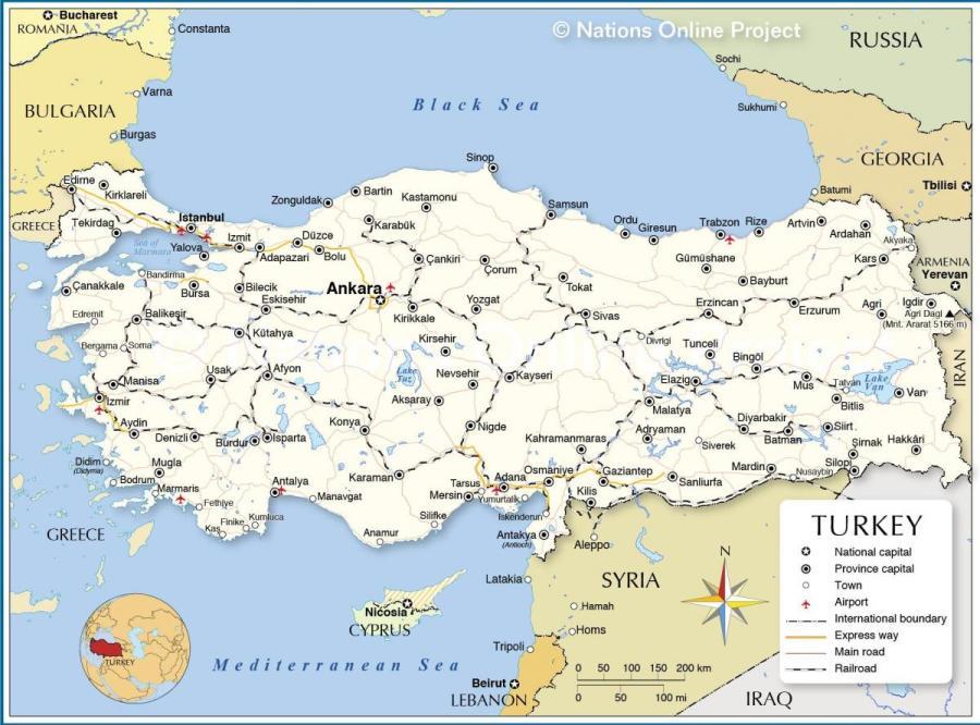 carte-de-la-turquie-et-des-pays-qui-l'entourent