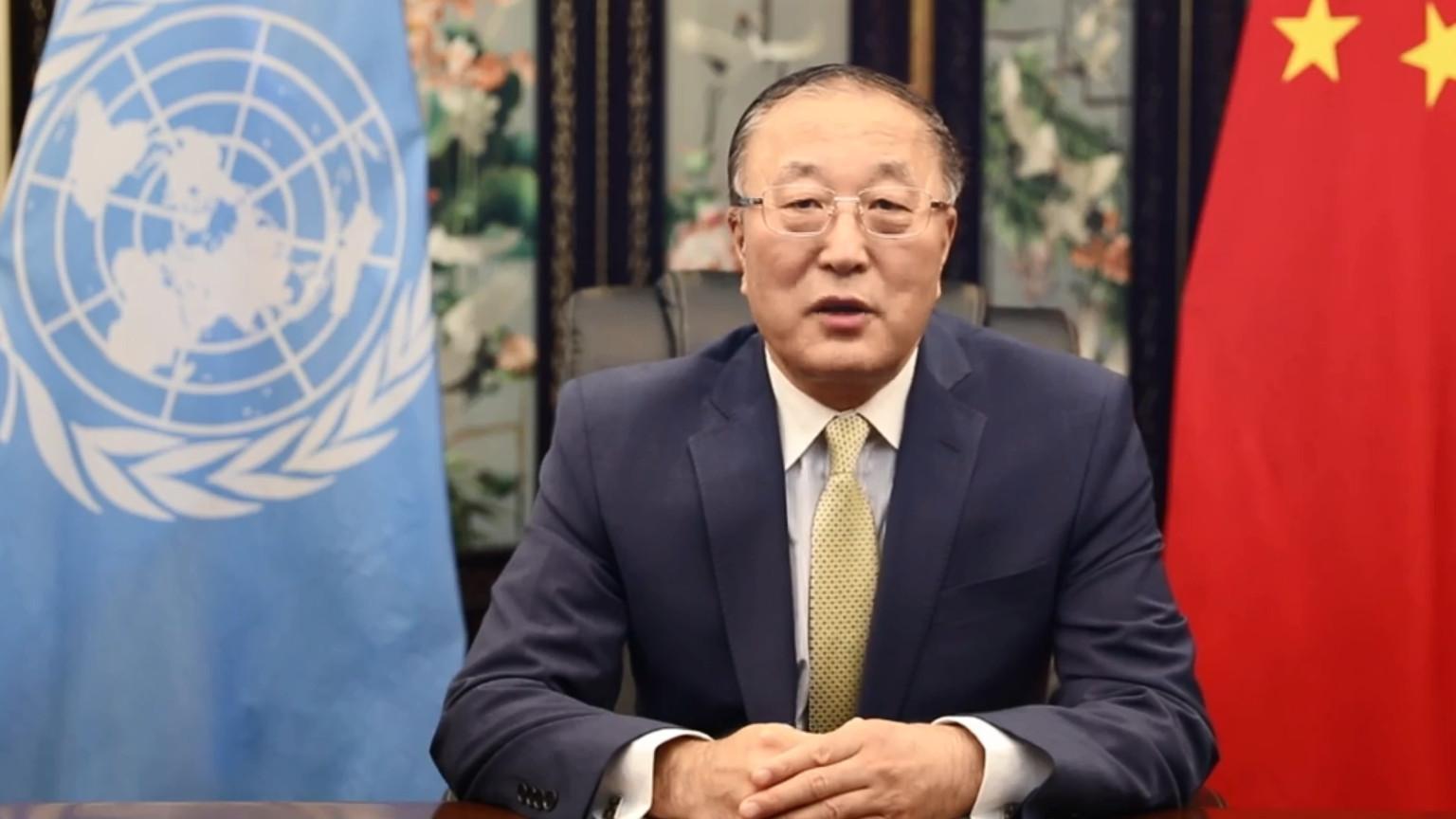 Le Représentant permanent de la Chine auprès des Nations Unies Zhang Jun,