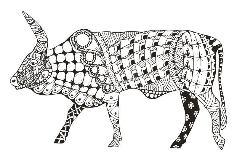 ox-chinese-zodiac-sign-zentangle-stylized-vector-illustration-pattern-freehand-pencil-hand-drawn-zen-art-ornate-lace-print-t-70495016