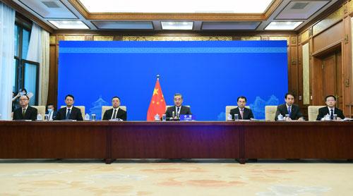 Wang Yi PH 3 préside une vidéoconférence des Ministres des Affaires étrangères de la Chine, de l'Afghanistan, du Pakistan, du Népal, du Sri Lanka et du Bangladesh – 27 Avril 2021