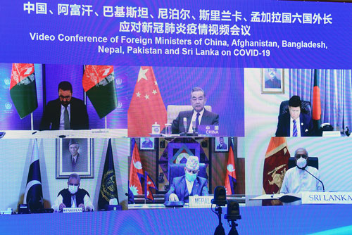 Wang Yi PH 4 préside une vidéoconférence des Ministres des Affaires étrangères de la Chine, de l'Afghanistan, du Pakistan, du Népal, du Sri Lanka et du Bangladesh – 27 Avril 2021