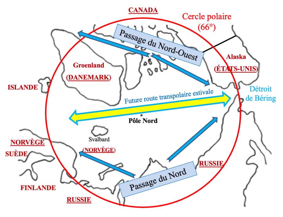 carte-1-l-arctique-vu-du-pole-nord-et-les-cinq-pays-riverains-garcin-diploweb