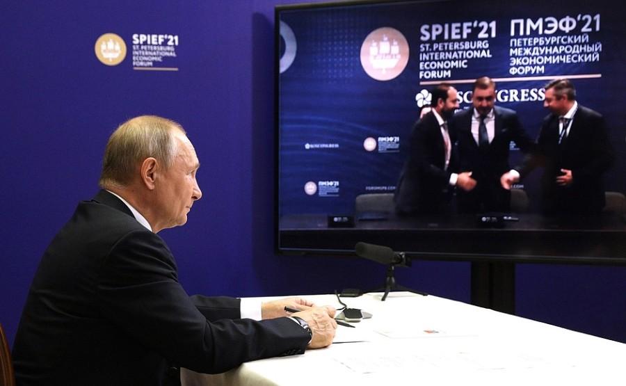 FORUM ECO 2 X 3 DU 03.06.2021. Cérémonie de signature des accords d'investissement au Forum économique international de Saint-Pétersbourg 03 juin 2021