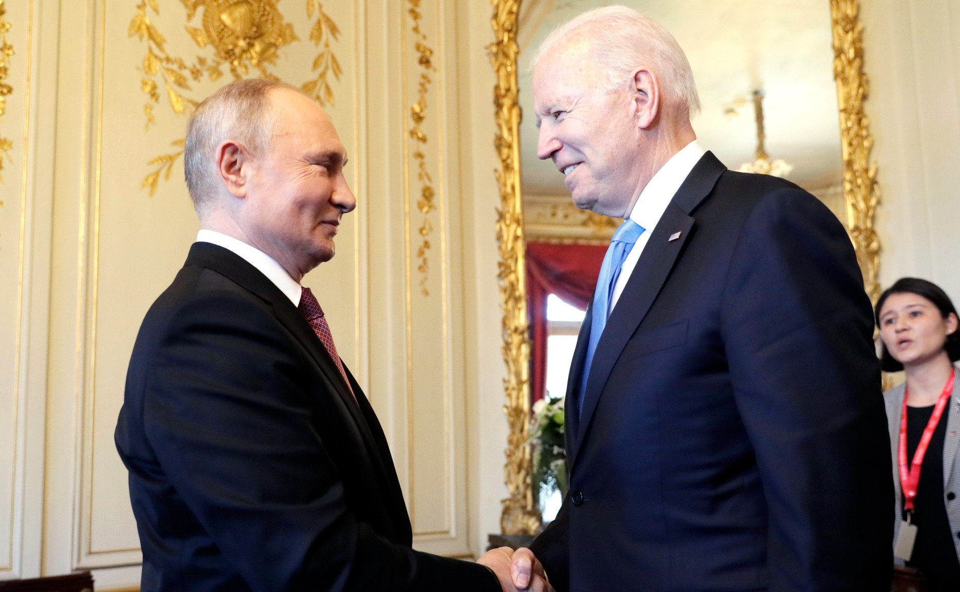 RUSSIE USA 3 X 16 Avec le président des États-Unis d'Amérique Joseph Biden avant les pourparlers russo-américains. Photo TASS